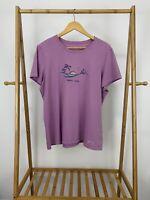 Life Is Good Women's Happy Hour Beach Sunset Purple Crusher T-Shirt Size XL