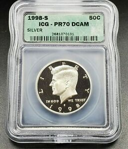 1998 S Silver KENNEDY HALF DOLLAR ICG PR70 DCAM Deep Cameo Proof Gem