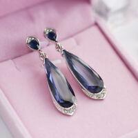 Elegant Drop Earrings for Women 925 Silver Jewelry Blue Sapphire A Pair/set