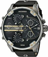 BRAND NEW DIESEL DADDY 2.0 CHRONOGRAPH BLACK LEATHER MEN WATCH DZ7348