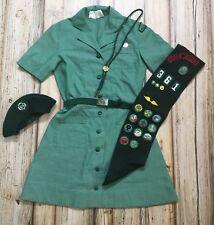 Girl Scouts Vintage Junior Uniform Dress Sash Belt Beret Badges Patches Soiux