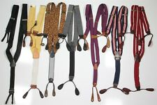 Lot of 7 Made in England Suspenders Braces Silk-Leather