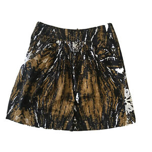 Veronika Maine A Line Skirt Size 10 Abstract Print Brown Pockets Casual Party