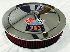 """CHROME CHEVROLET AIR CLEANER 14"""" ROUND 4 BBL WASHABLE RED FILTER 383 DECAL NEW"""
