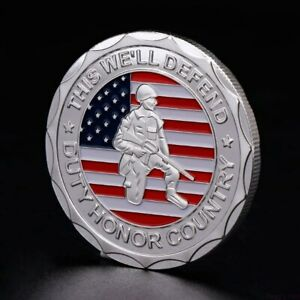 U.S. United States Army | Veteran Proudly Served | Silver Plated Challenge Coin