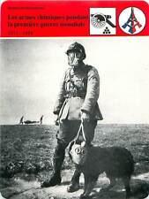 FICHE CARD Armes Chimique WWI 1915-1918 Soldats & Chien Masque à Gaz   90s