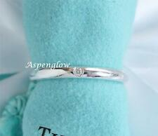 AUTHENTIC TIFFANY & CO ELSA PERETTI STERLING SILVER DIAMOND BAND STACK RING 8.25