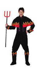 Men Adult Halloween Black Flaming Devil Costume Fancy Dress Flames Horror Outfit