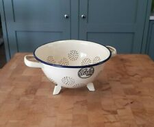 More details for vintage tala enamel two handle colander cream with blue trim  allotment