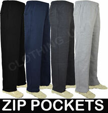 *FREE P&P** Mens Jogging Fleece Bottoms Joggers Casual Trousers Open Hem S-5XL