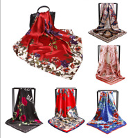 "New Women's Flower Print Hijab Scarf Silk-Satin Square Head Shawl Scarf 35""*35"""