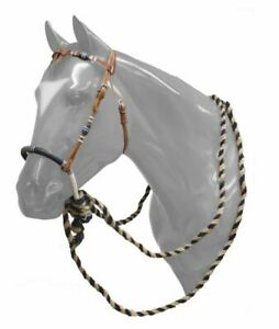 Showman Leather Futurity Knot Headstall w/ Rawhide Braided Bosal & Mecate Reins