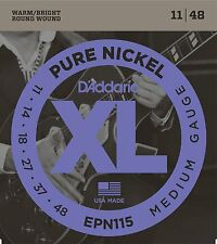 D'Addario EPN115 XL Pure Nickel Electric Guitar Strings 11-48