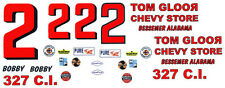 #2 Bobby Allison 1965-66 Chevy Gloor Store 1/64th Ho Scale Slot Car Decals