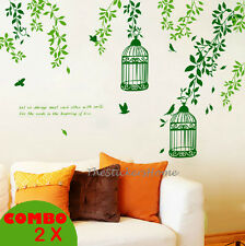 *Combo* Green Vines Tree Bird Cages Wall Stickers Lounge Office Home Art Decor