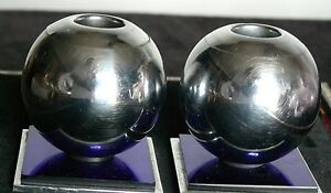 ANTIQUE ART DECO CHASE CHROME COBALT BLUE MIRRORED CANDLE STICKS