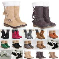 Womens Ladies Winter Warm Snow Mid Calf Faux Fur Flat Buckle Boots Shoes Fleece