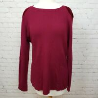 Sundance Valyria Pullover Merino Wool Velvet Ribbed Sweater Cranberry Red Size L