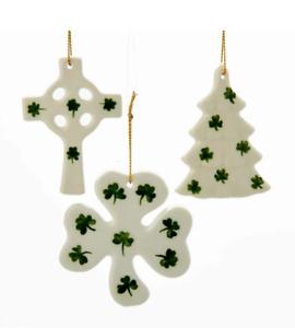 KURT ADLER SET OF 3 PORCELAIN IRISH CHRISTMAS ORNAMENTS - TREE, CROSS & SHAMROCK