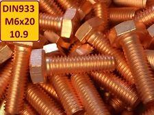 10 Stück Kupferschraube DIN 933 M6x20 10.9 hochfest stark verkupfert