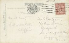 Stamp England 1&1/2d brown KGV perfin W.F Co Ltd on 1925 Stonehenge postcard