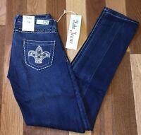 Kaba Jeans Rhinestone Studded Back Pockets Skinny Stretch Medium Wash Blue Jeans