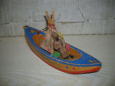 Alter Masse Indianer mit Kanu Boot Schiffchen und Tipi , DDR 50/60er Jahre