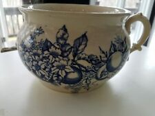 Antique blue and white stoneware stenciled fruit chamber pot