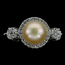 ELEGANT GENUINE  ROUND BUTTON 8mm. CREAMY PINK PEARL,W. CZ 925 SILVER RING SIZE8