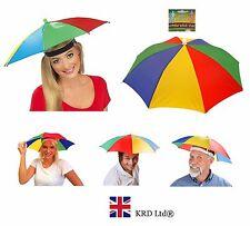 ADULT UMBRELLA HAT Novelty Costume Mens Ladies Multi Colour Festival Sun Rain UK