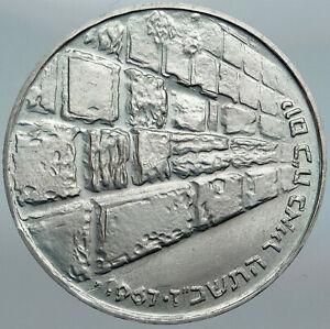1967 ISRAEL IDF 6 Day War Wailing Wall OLD Jerusalem Silver 10 Lirot Coin i88015