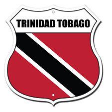Trinidad Tobago Flag Novelty Highway Shield Metal Sign