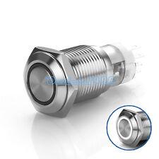 16mm White LED Angel Eye 12V Momentary Push Button Switch 1NO1NC Waterproof