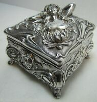 Art Nouveau Jenning Bros Nude Maiden Trinket Box JB Ornate Decorative Arts