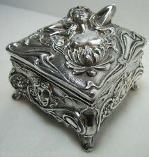 Art Nouveau Jenning Bros Nude Maiden Trinket Box JB early 1900s figural ornate