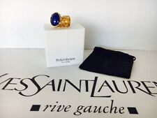 Saint Laurent YSL Arty Royal Blue Gold Spakes marble  Ring Size 4 JEWELRY