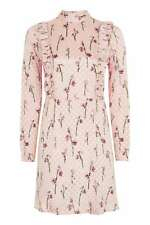 TOPSHOP SPOT JACQUARD RUFFLE SPOTTED DRESS PINK SATIN SIZE 6-16 RRP £60