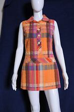 Vtg '60s Gordon of Philadelphia 2 piece colorful button front outfit w/ shorts 4