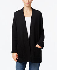 Eileen Fisher Black Cotton Cashmere Open Front Grid Cardigan 12 14 L