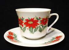 POINSETTIA CUP AND MATCHING SAUCER BY RELPO #6747 EUC