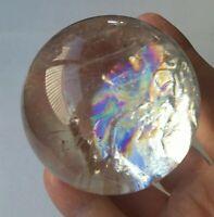 """Clear Quartz Crystal Sphere, Amazing Rainbows, Premium Quality, 2.5"""" Diameter"""