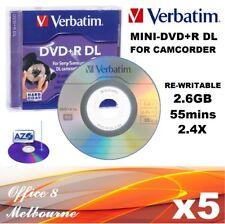 5 x Verbatim Mini DVD+R DL Handycam DVD ReWritable 8cm 55min 2.6GB Camcorder