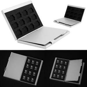 Silver Aluminum Memory Card Storage Case Box Holder For 24 TF SD Cards