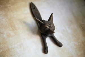Antique Bronze Fox Metal Door Knocker   Vintage Style Solid Brass Knocker