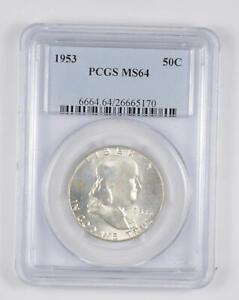 1953 MS64 Franklin Half Dollar - 90% SILVER - PCGS Graded *095