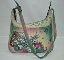 Anushka Genuine Leather Hand painted Paisley Zip Hobo Shoulder Bag