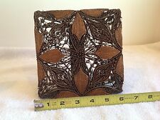 Antiq Vtg Javanese Batik Tjaps Chops Copper Stamp Floral Indonesian 60s Decorat