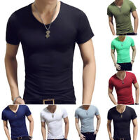 Men Fashion Bodybuilding Slim Fit V Neck Short Sleeve Gym Muscle Tee Top T-shirt