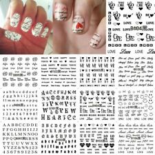 Nail Sticker Love Text English Letter Number Art Water Transfer Black Decal Set