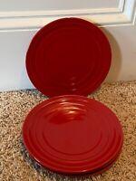 "Rachael Ray DOUBLE RIDGE RED 8"" Salad Plates Set of 7"